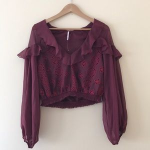 Free People Eyelet Ruffled Blouse